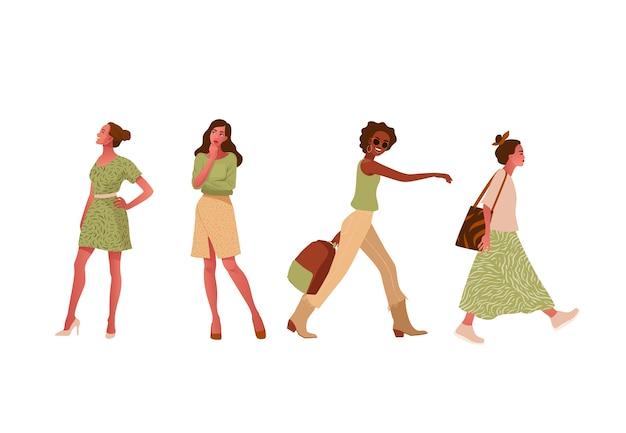 Conjunto de chicas de moda caminando, de pie, pensando.