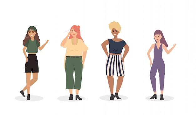 Conjunto de chicas con ropa casual y peinado.