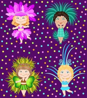 Conjunto de chicas en trajes de carnaval.