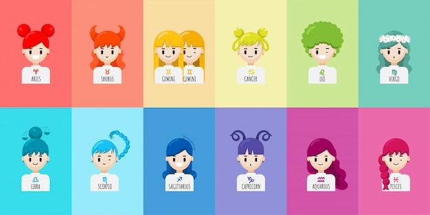 Conjunto de chicas de zodiaco de personaje de dibujos animados