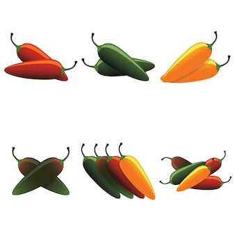 Conjunto de chiles calientes jalapeño caliente