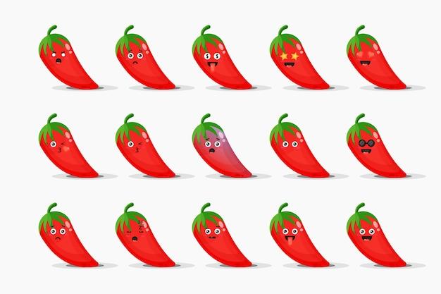 Conjunto de chiles rojos lindos con emoticonos