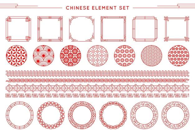 Conjunto chino de borde, marcos, patrones, nudos aislados