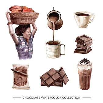 Conjunto de chocolate acuarela