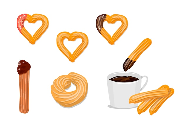 Conjunto de churros y de chocolate
