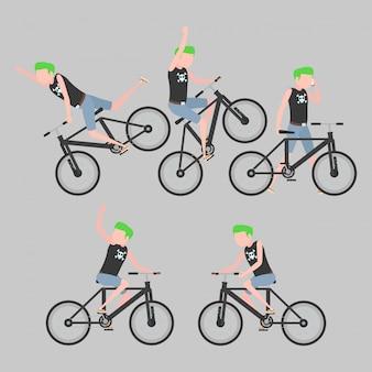 Un conjunto de ciclistas en un estilo estilizado.