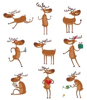 Conjunto de ciervos de dibujos animados.