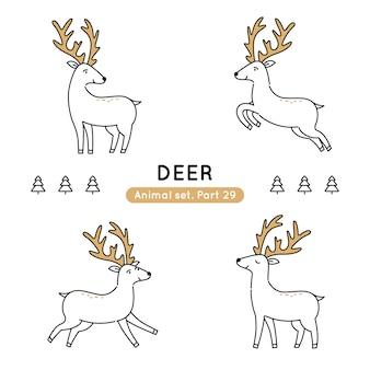 Conjunto de ciervos de doodle en varias poses aislado