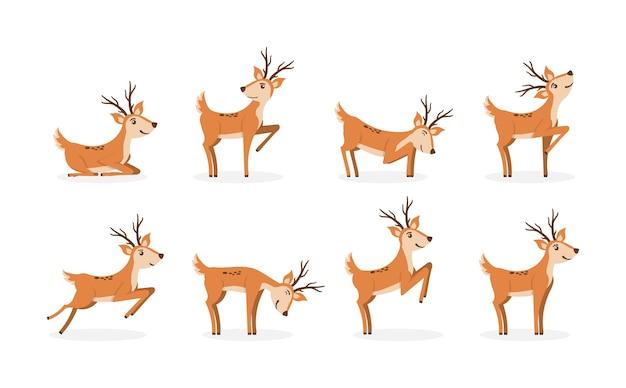 Conjunto de ciervos marrones corriendo y saltando