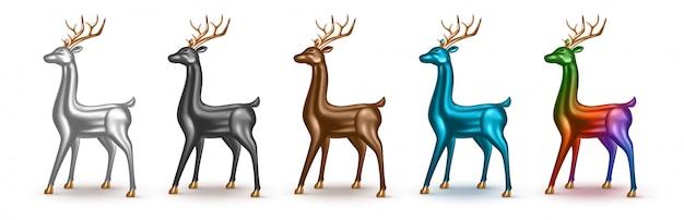 Conjunto de ciervos metálicos realistas con diferentes colores.