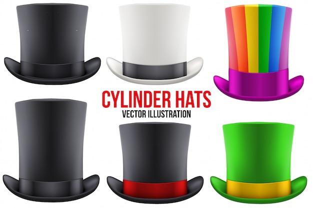 Conjunto de cilindro de sombrero de caballero