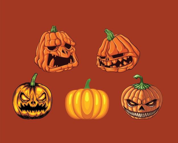 Conjunto de cinco calabazas de halloween con diferentes expresiones faciales.