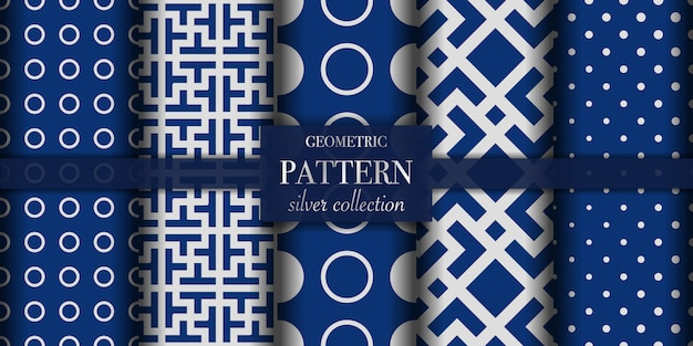Conjunto de cinco líneas abstractas y patrón geométrico. color azul oscuro y plateado