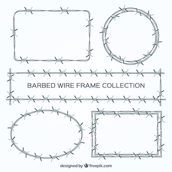 Conjunto de cinco marcos de alambre de espina