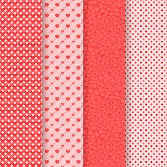 Conjunto de cinco patrones sin costuras. día de san valentín. corazones, flechas, geometricos, puntos.