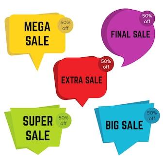 Conjunto de cinco pegatinas de venta de colores con texto. plantilla de etiqueta de venta. ilustración vectorial