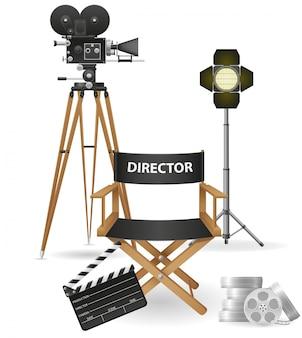 Conjunto de cinematografía, cine y película, ilustración vectorial.