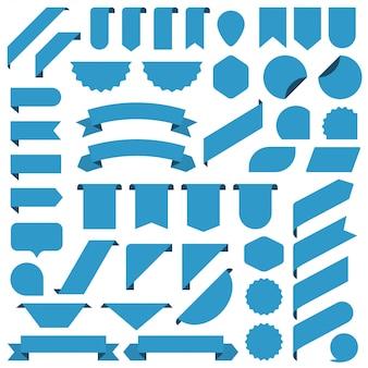Conjunto de cinta azul pancartas en blanco.