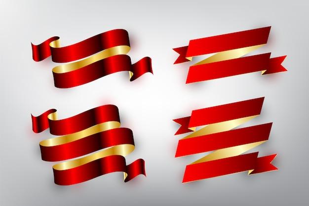Conjunto de cinta brillante roja y dorada para banner de diseño, insignia e icono sobre fondo blanco, ilustración