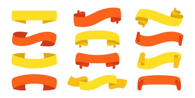 Conjunto de cinta. cinta de colección plana en blanco, iconos decorativos. diseño vintage, cintas de colores firman estilo de dibujos animados. kit de iconos web de cintas de banner de texto. ilustración aislada
