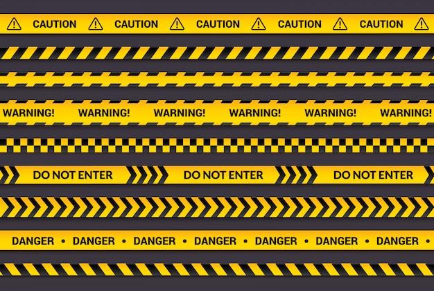 Conjunto de cinta de precaución, tiras de advertencia amarillas, símbolo de peligro, flechas, líneas amarillas con texto negro y signo de triángulo.
