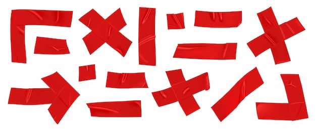 Conjunto de cinta de reparación de conducto rojo aislado