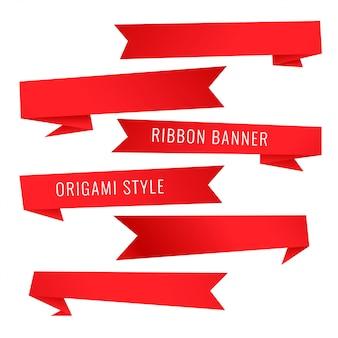 Conjunto de cinta roja estilo origami