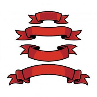 Conjunto de cinta roja en fondo blanco aislado