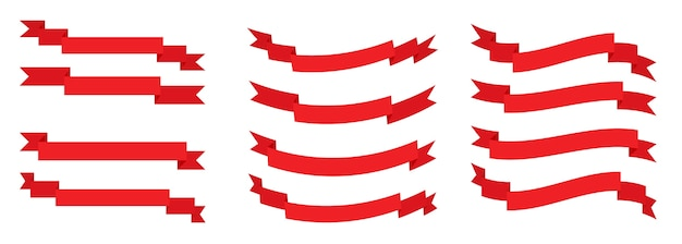 Conjunto de cinta roja plana. bandera retro, cinta en blanco para texto, etiqueta de precio, etiqueta de venta. plantilla vacía de cintas simples de diferentes formas. bandera de papel decorativo de dibujos animados. aislado en la ilustración blanca