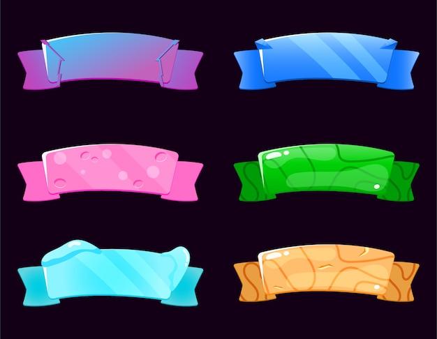 Conjunto de cinta en varios estilos para elementos de la interfaz de usuario del juego