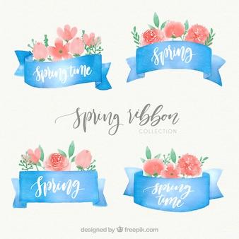Conjunto de cintas de acuarela de primavera con flores