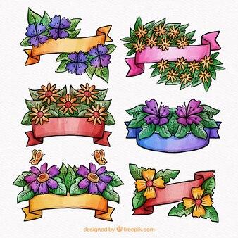 Conjunto de cintas de acuarela de primavera