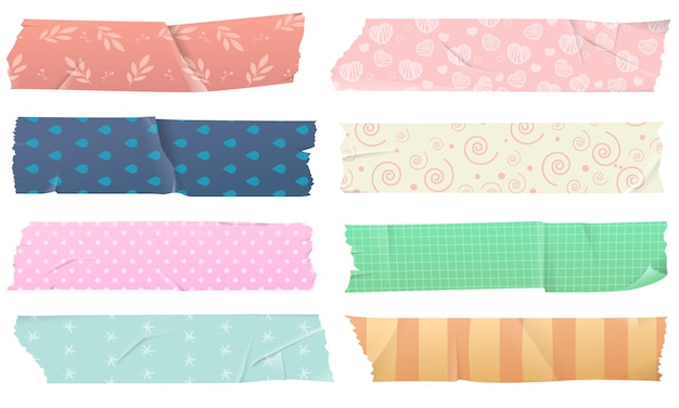 Conjunto de cintas adhesivas washi para decoración, aislado sobre fondo blanco.