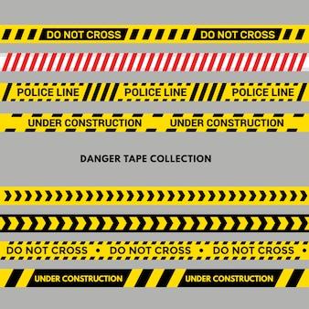Conjunto de cintas de advertencia o peligro. raya de policía negra y amarilla