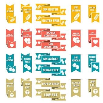 Conjunto de cintas de los alimentos