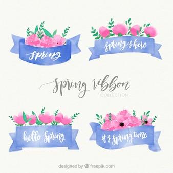 Conjunto de cintas azules de acuarela de primavera