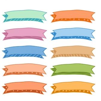 Conjunto de cintas clásicas coloridas dibujadas a mano de diez