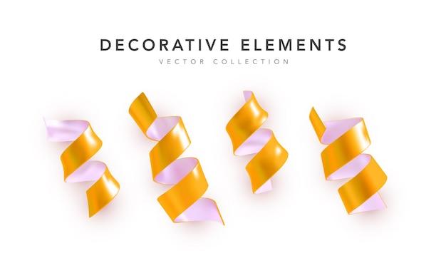 Conjunto de cintas de color amarillo serpantino con sombra aislada sobre fondo blanco.