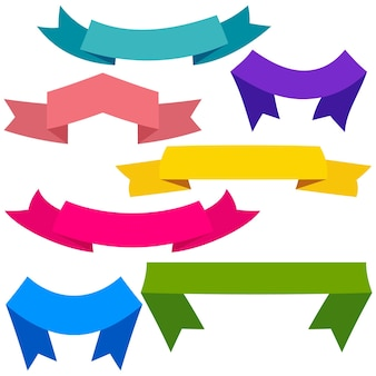 Conjunto de cintas de colores y pancartas para diseño web. gran elemento de diseño aislado sobre fondo blanco. ilustración vectorial.