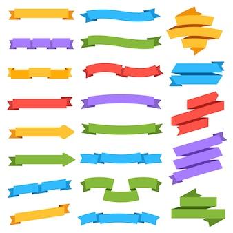 Conjunto de cintas colorida etiqueta en blanco etiqueta de precio banner marcador vintage colección aislada