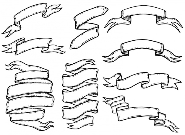 Conjunto de cintas dibujadas a mano y pancartas. elemento para logotipo, etiqueta, emblema, signo, póster, camiseta. ilustración