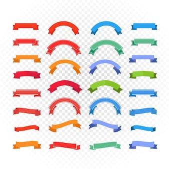 Conjunto de cintas de diferentes colores de estilo retro aislado en transparente. listo para un texto en transparente. banderas vectoriales