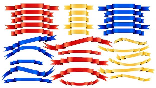Conjunto de cintas doradas rojas azules