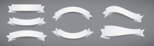 Conjunto de cintas de estilo plano de banner de papel blanco con contorno punteado