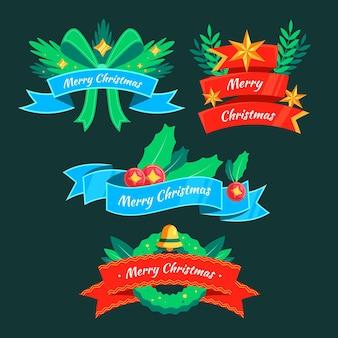 Conjunto de cintas de navidad de diseño plano