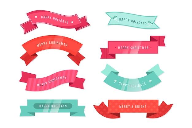 Conjunto de cintas navideñas de diseño plano