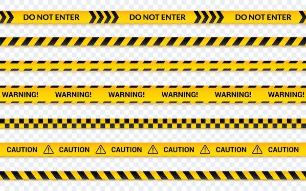 Conjunto de cintas de precaución, no ingrese la cinta amarilla.