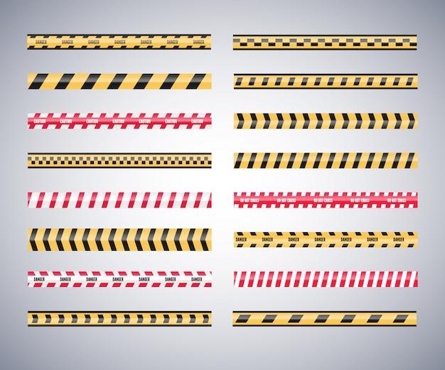 Conjunto de cintas de precaución peligro. advertencia de seguridad