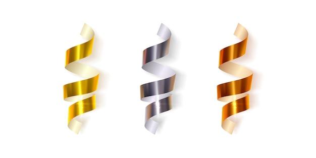 Conjunto de cintas de regalo serpentinas realistas en color oro, plata y bronce.