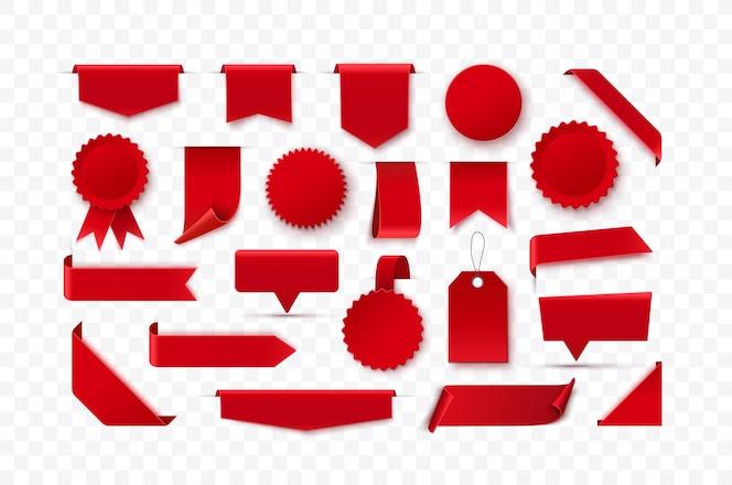 Conjunto de cintas rojas en blanco etiquetas insignias y etiquetas aisladas